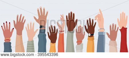 Anonymous Arms And Raised Hands Of Multiethnic Multicultural People. Crowd Diversity People. Partici