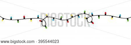 Christmas Lights. String Fairy Light Set. Lightbulb Glowing Garland. Colorful Cartoon Holiday Festiv
