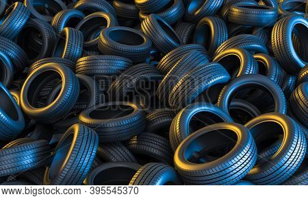 Car tires conceptual background with yellow and blue lights. 3d render.