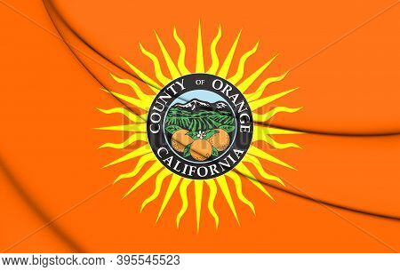 3d Flag Of Orange County (california), Usa. 3d Illustration.