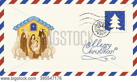 Postal Envelope On The Christmas Theme With Postage Stamp And Postmark. Bible Illustration Of Adorat