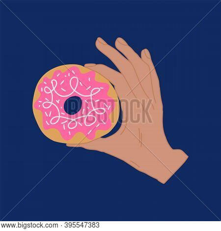 Illustration Of Sweet Candy Donuts. Hand-drawn In The Flat Style. Hand Of A Man With A Doughnut And