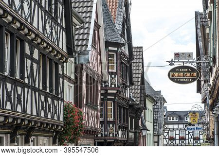 Linz On The Rhine, Germany - August 2, 2020: The Half-timbered Houses In The Old Town Of Linz On The