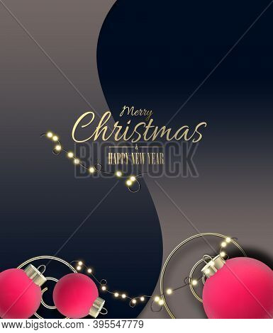 Luxury Christmas Elegant Background With 3d Realistic Red Pink Balls Baubles, Gold Text Merry Christ