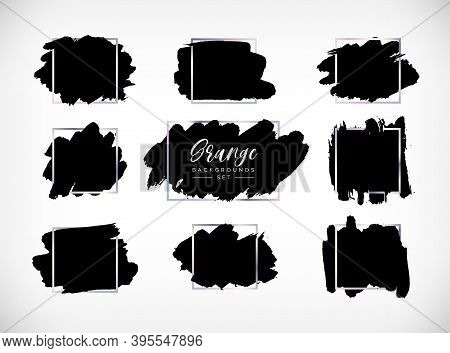 Grunge Vector Backgrounds Set. Hand Drawn Brush Spots With Silver Frames. Ink Brush Strokes, Black P