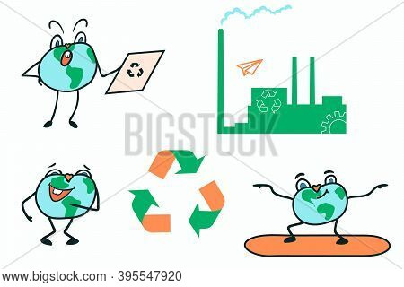 Vector Illustration Of The Planet Earth. Set Of Planet And Ecology Stickers. Saving The Planet From