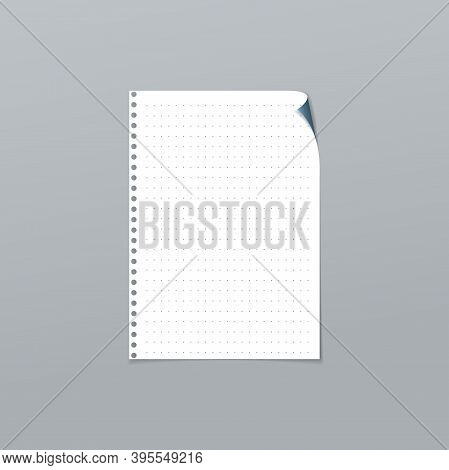 White Dotted, Lined Note, Notebook Paper With Folded Corner Is On Grey Background For Text, Advertis