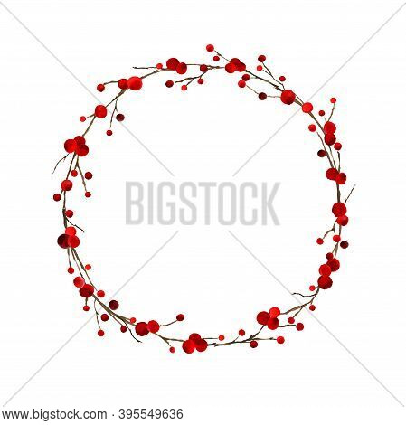Watercolor Hand Painted Merry Christmas Decoration Wreath With Holly Berry Branches Isolated On Whit