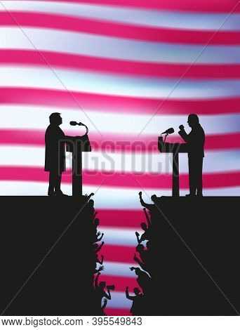 Battle Of Team Leaders, Confrontation Fight Of Opponents. Man In Conference Suit On Podium Agains An
