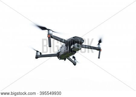 Gdansk, Poland - November 14, 2020: DJI Mavic 2 pro drone with hasselblad camera. Isolated over white background. Illustrative editorial content