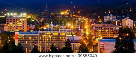 Eugene Skyline At Night