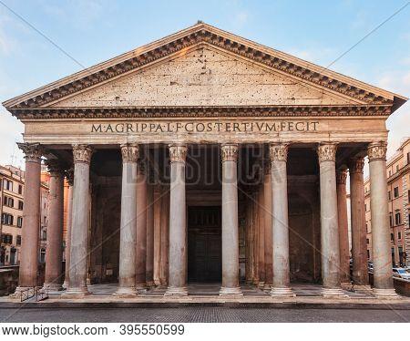 Pantheon roman temple facade, Piazza della Rotonda, Rome, Italy. Latin inscription reads: