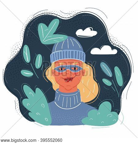 Vector Illustration Of Burglar Woman In Mask Face At Night On Dark Background.