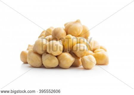 Healthy cooked chickpeas isolated on white background.