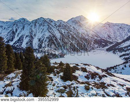 Dawn On A Mountain Lake In Winter. Morning Winter Mountain Landscape. Big Almaty Lake. Kazakhstan