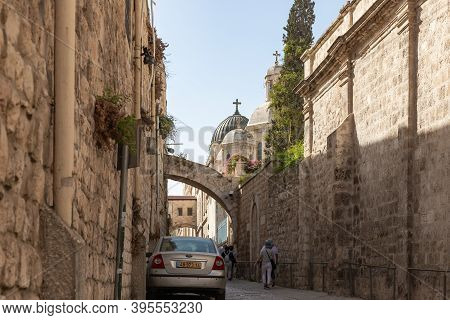 Jerusalem, Israel, October 24, 2020 : The Church Of The Condemnation On The Via Dolorosa Street In T
