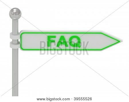 """3D Rendering Of Sign With Green """"faq"""""""