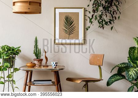 Retro Interior Design Of Living Room With Stylish Vintage Chair And Table, Plants, Cacti, Personal A