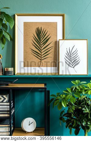 Modern Composition Of Mock Up Photos Frames, Stylish Shelf With Personal Accessoreis, Decorations, C