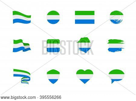 Flags Of Sierra Leone - Flat Collection. Flags Of Different Shaped Twelve Flat Icons.