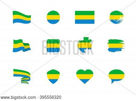 Flags Of Gabon - Flat Collection. Flags Of Different Shaped Twelve Flat Icons.