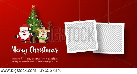 Christmas Postcard Banner Of Santa Claus And Reindeer With Photo Frame