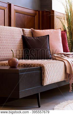 Stylish Interior Of Living Room With Design Pink Sofa, Elegant Pillows, Plaid, Decoration And Elegan