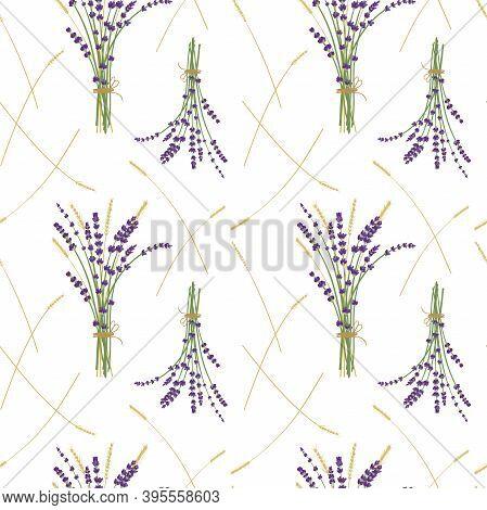 Lavender Bouquet Ans Wheat Pattern, White Background