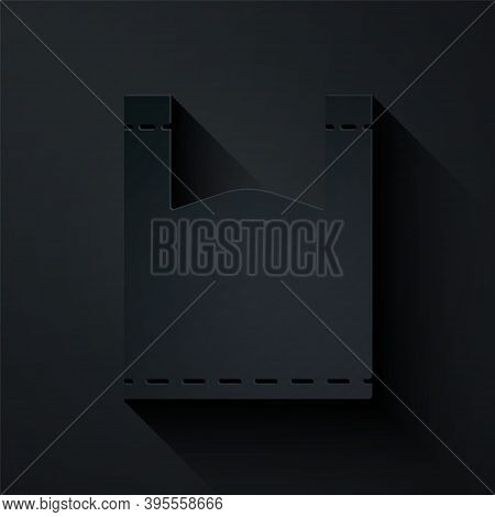 Paper Cut Plastic Bag Icon Isolated On Black Background. Disposable Cellophane And Polythene Package