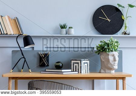 Stylish Scandinavian Living Room Interior With Wooden Desk, Chair, Wood Panleing With Shelf, Table L