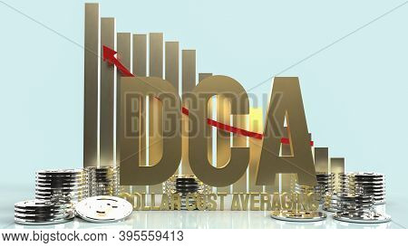 Gold Text Dca Or Dollar Cost Average For Business Content 3d Rendering.