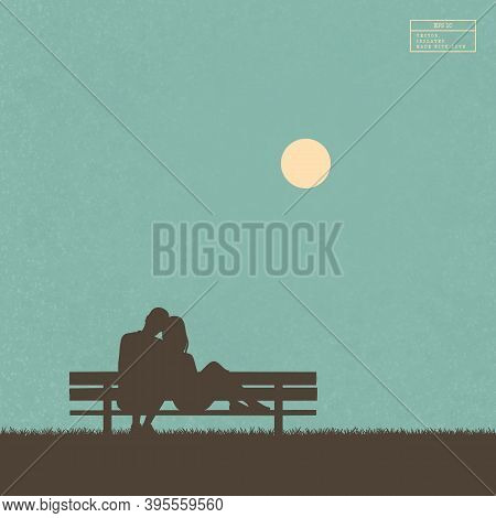 Lovers Sitting On Bench In Park. Isolated Silhouette Of Loving Couple. Yellow Sun On Blue Texture Ba