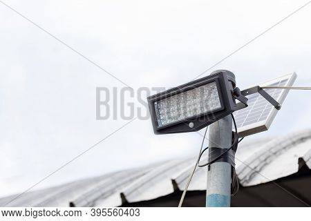 A Modern Street Led Lighting Pole. Urban Electro-energy Technologies. Poles On The Road With Led Lig