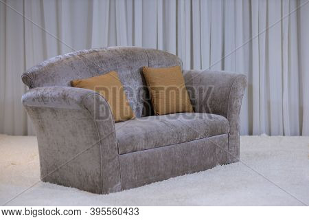 Pillow On Sofa And Chair Decoration In Living Room Interior. Set Of Pillows On Luxury Sofa In Living