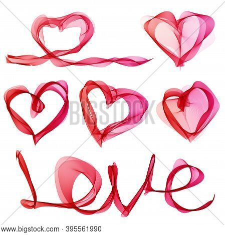 Set With Hearts And The Word Love Consisting Of Thin Lines On A White Background