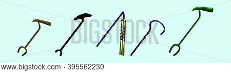 Set Of Scepter. Symbol Of Monarchy. Cartoon Icon Design Template With Various Models. Modern Vector