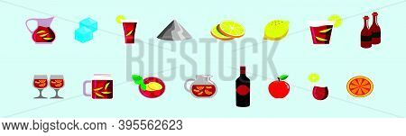Pitcher And Glass With A Refreshing Spanish Drink Sangria Wine Modern Cartoon Icon Design Template I