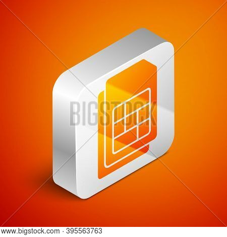 Isometric Sim Card Icon Isolated On Orange Background. Mobile Cellular Phone Sim Card Chip. Mobile T