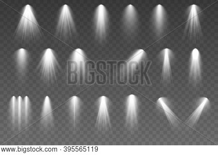 Bright White Lighting With Spotlights, Projector Light Effects. Glowing Light Effect With Golden Ray