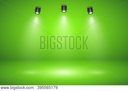 Empty Green Studio Abstract Background With Spotlight Effect. Product Showcase Backdrop. Chroma Key