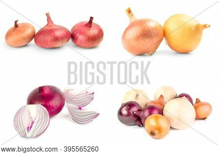 Set Of Fresh Bulbs Of Onion Isolated On A White Background Cutout