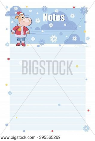 Calf. Notes. Vector Background, Template. Bull. Santa Claus. Childrens Page For Records. Template