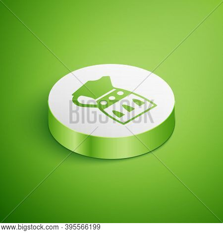 Isometric Sangria Pitcher Icon Isolated On Green Background. Traditional Spanish Drink. White Circle