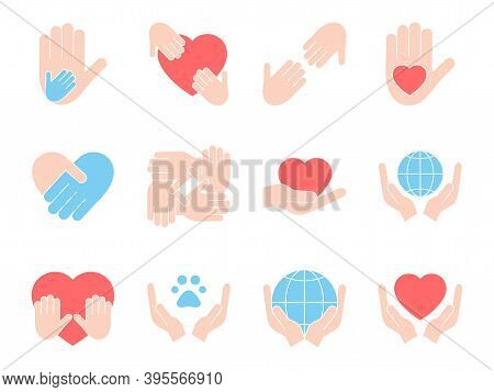 Charity Set Icons. Vector Donation Stock Illustration Isolated On White Background. Voluntary Colorf