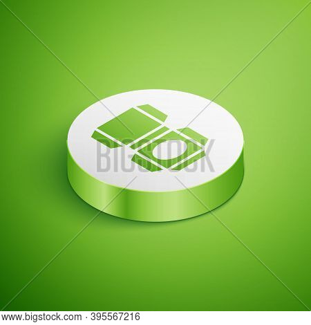 Isometric Carton Cardboard Box Icon Isolated On Green Background. Box, Package, Parcel Sign. Deliver