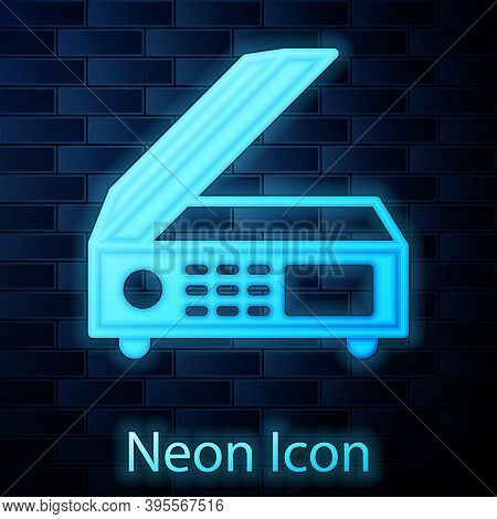 Glowing Neon Scanner Icon Isolated On Brick Wall Background. Scan Document, Paper Copy, Print Office