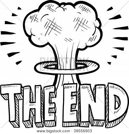Doodle style The End sketch with cartoon mushroom cloud and text message in vector format. poster