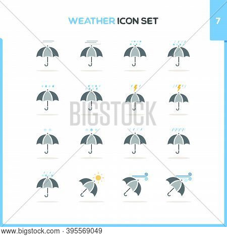 Weather Icon Set. Color Icon Set With Round Shadow. Seventh Group. Glyph Vector Illustration