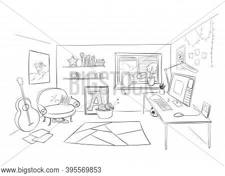 Room Line Art Black Doodle Vector Hand Drawing. Sketch Of A Room In Perspective In Pencil For A Desi