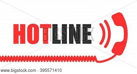 Hotline Vector Telephone Handset Flat Online Help Concept, Information Assistant Support Service Ill